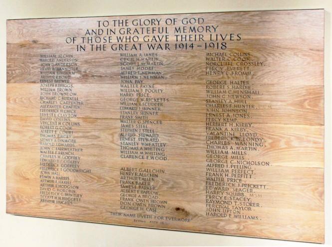 East Wickham and Welling War Memorial in St Michael's Church, East Wickham